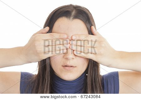 Young Woman Cover Her Eyes With Her Hand