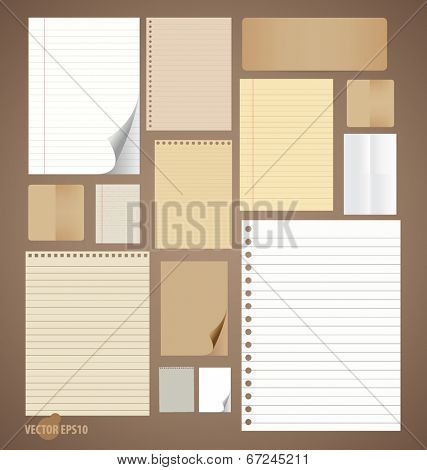 Collection of various vintage paper designs (paper sheets, lined paper and note paper). Vector illustration.