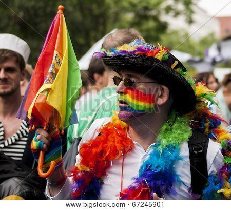 Elaborately Dressed Man During Gay Pride Parade