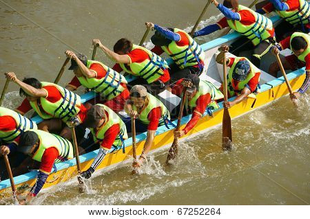 People In Activity, Rowing Dragon Boat In Racing