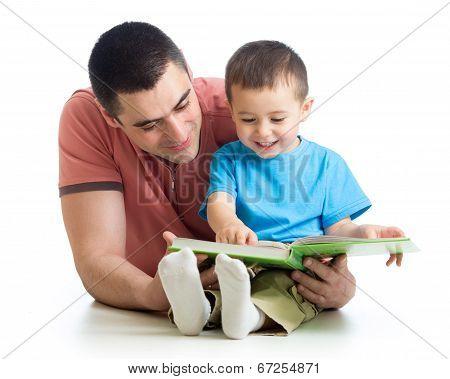 Man Reading A Book To Son