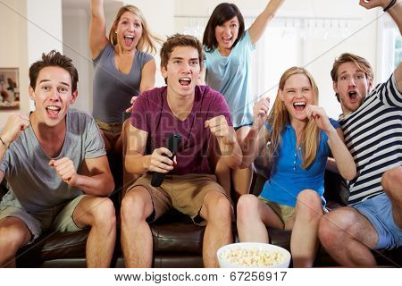 Friends Watching Sport Celebrating Goal