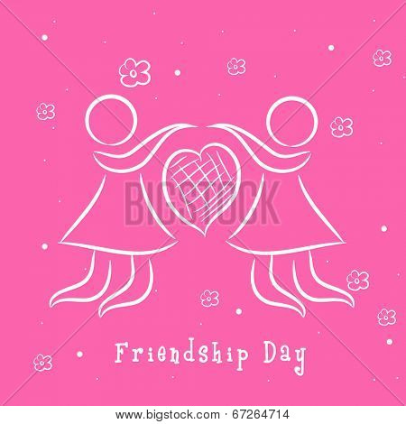 Sketch of two girls holding hands on bright pink background for Happy Friendship Day.  poster
