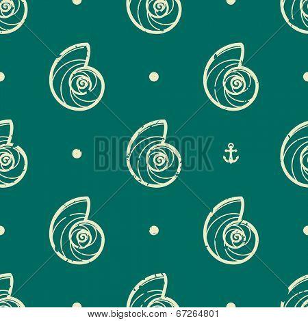 Vintage seashell seamless pattern