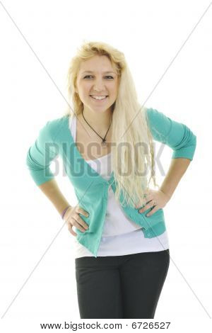 Happy Young Teenage Girl Isolated On White