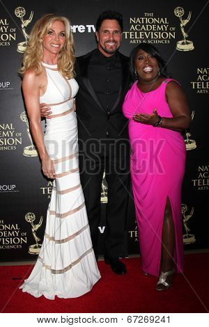 LOS ANGELES - JUN 22:  Cindy Ambuehl, Don Diamont, Sheryl Underwood at the 2014 Daytime Emmy Awards Arrivals at the Beverly Hilton Hotel on June 22, 2014 in Beverly Hills, CA