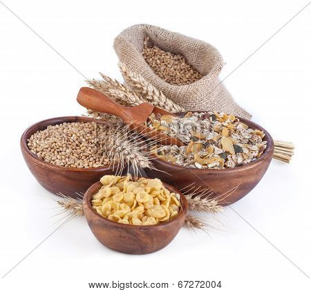 Muesli, cornflakes and ripe wheat