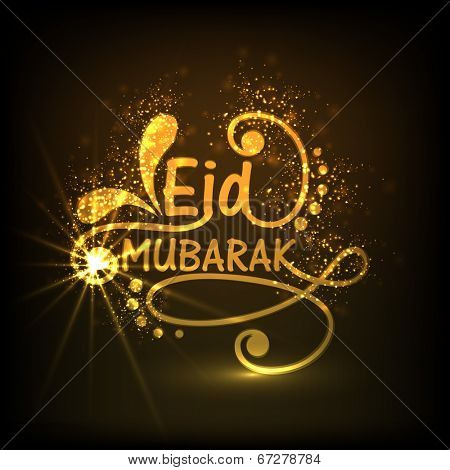 Stylish golden text Eid Mubarak on floral design decorated brown background for celebrations of muslim community festival. poster