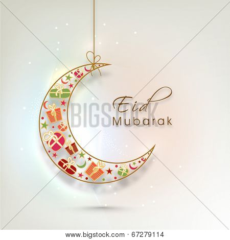 Beautiful crescent moon decorated with colorful gift boxes on shiny colorful background for Muslim community festival Eid Mubarak celebrations.