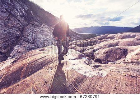 hike in Norway mountains,Svartisen Glacier