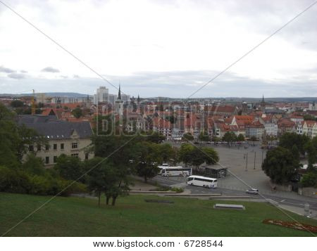 Erfurt Center and gray sky (Former East Germany)
