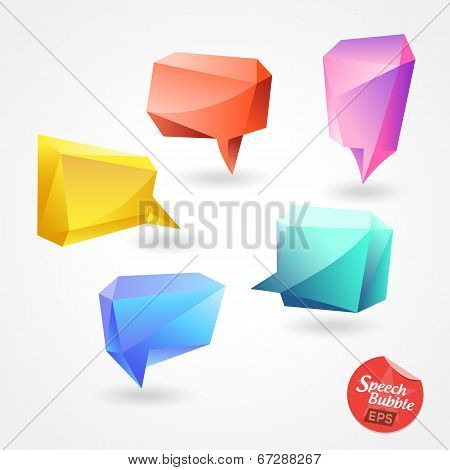 Speech Bubble Vector Polygon 3D