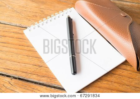 Simply Notepaper Prepare On Wooden Table