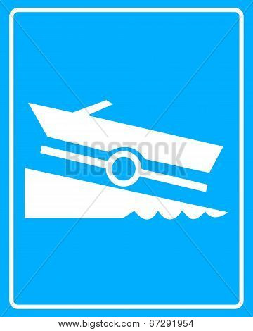 White Sign With A Boat Trailer