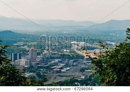 Roanoke Virginia City Skyline On A Sunny Day