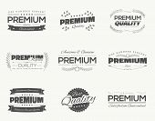 Satisfaction guaranteed vintage premium quality black vector labels and badges set and collection isolation. poster