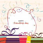 Stylish greeting card design for Happy Friendship Day with colorful gift boxes.  poster