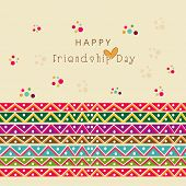 Beautiful greeting card design with stylish text on colorful friendship bands on beige background.  poster