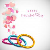 Colourful bands on heart shape decorated grey background for Happy Friendship Day celebrations.  poster