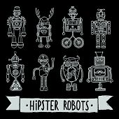 Hipster robot retro humanoid avatar black silhouette icons set isolated vector illustration. poster