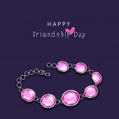 Stylish pearl bracelet on purple background for Happy Friendship Day celebrations.  poster