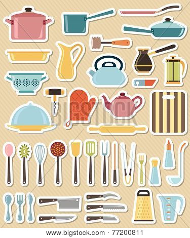 Set of kitchen utensil and collection of cookware icons