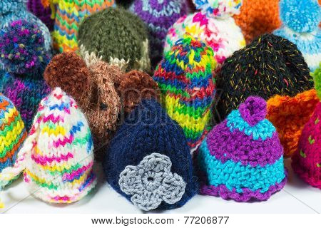 knitted bobble caps