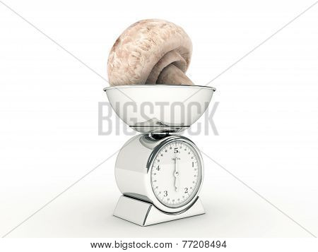 kitchen scale with giant mushroom