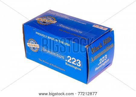 Hayward, CA - November 26, 2014: Box of Black Hills brand .223 Remington ammunition