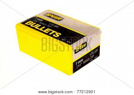 Hayward, CA - November 26, 2014: Box of SPeer brand 7mm Mag-Tip bullets for reloading