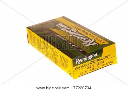 Hayward, CA - November 26, 2014: box of 20 Remington Express Core-Lokt 100grain .243 Win ammunition