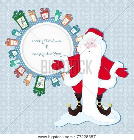 Frame For Text In The Gifts With Santa Claus