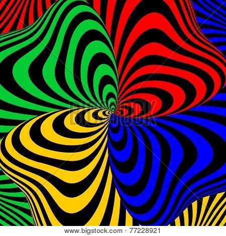 Design Colorful Swirl Movement Illusion Background
