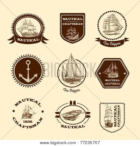 Sketch nautical emblems