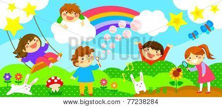 wide strip with happy kids