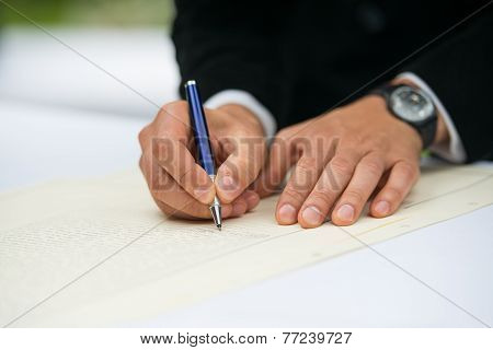 Signatures During A Wedding Ceremony