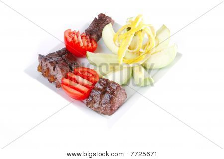 Red Meat On White Dish
