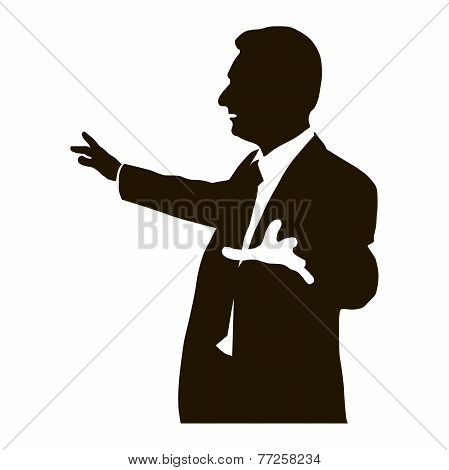 Silhouette protruding speaker with wide beautiful hand gestures. Bolsun. Rhetoric. Oratory, lecturer