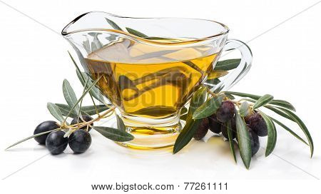 Branch With Olives And Olive Oil
