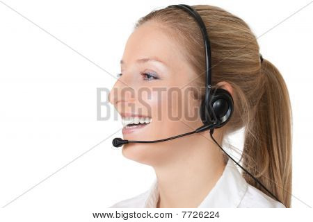 Woman consultant with microphone and headphones