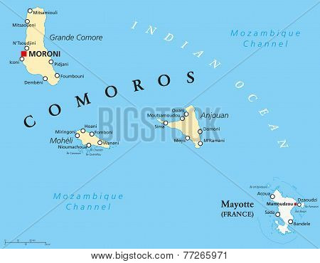 Comoros and Mayotte Political Map
