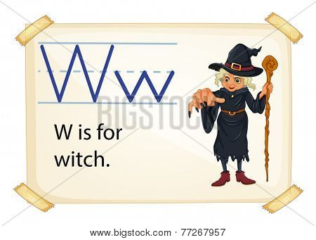 A letter W for witch on a white background