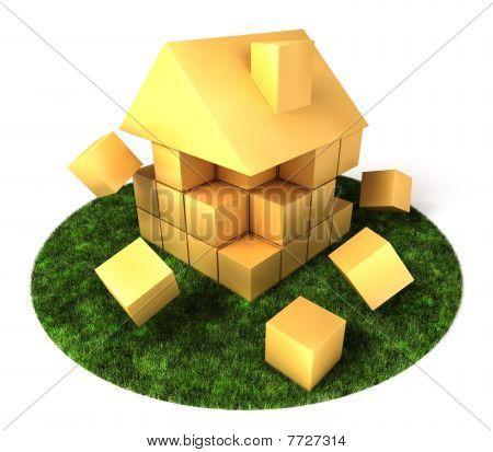 House Building In Garden
