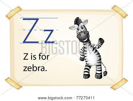 A letter Z for zebra on a white background