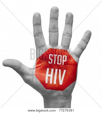 Stop HIV Sign Painted, Open Hand Raised.
