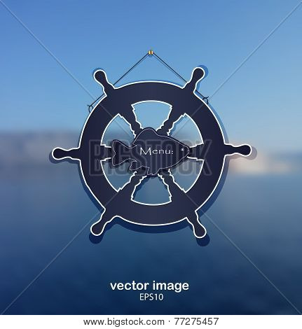 background sea rudder fish water blue vector