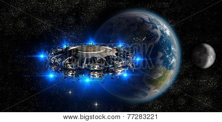 Alien UFO nearing Earth