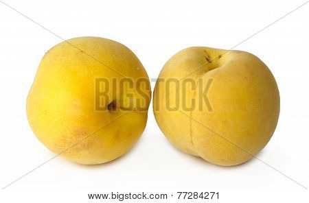 Two Yellow Peaches On White Background