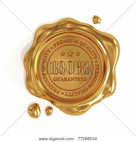 Golden Wax Seal 100 Percent Premium Quality Stamp Isolated