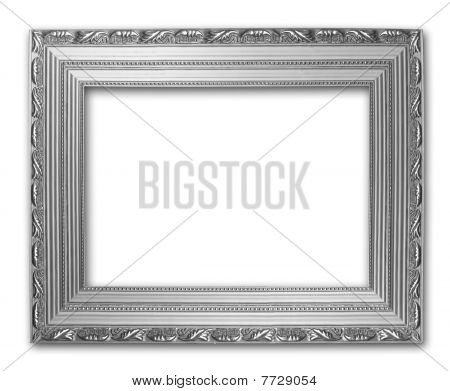 Picture Silver Frame On The White Isolated Background